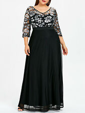 Plus Size New Women Dress Sequined Floral Print Maxi Prom Evening Party Dress