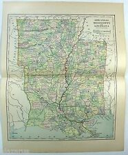 Original 1883 Map of Arkansas, Mississippi and Louisiana by Phillips & Hunt