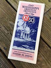 1940 Road Map Mississippi Arkansas Louisiana Standard Oil Co - KYSO Kentucky