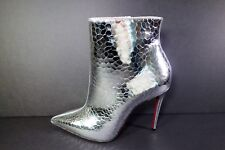 Louboutin 38.5 SO KATE BOOTY 100 Silver metallic leather ankle boot booties New
