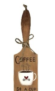 "COFFEE paddle country kitchen cafe 10x3"" restaurant wall decor wood sign"
