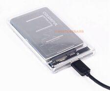 "USB 3.0 Transparent 2.5"" SATA SSD HDD Hard Drive Enclosure Case US-Seller"