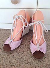 STUNNING RALPH LAUREN PINK WEDGE HEEL SANDALS UK SIZE 8 WORN ONCE SOME MARKS