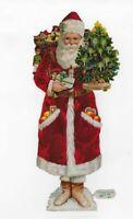 "RED L&B VICTORIAN SANTA, POCKETS of ORANGES, CHRISTMAS TREE, Antique Scrap 10"""