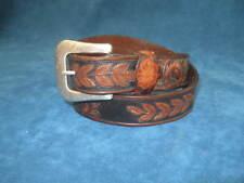 Vtg Resistol Dark Brown Embossed Tooled Leather Western Belt Silver Plate Buckle