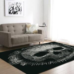 Skull Art Modern Black Rug/Carpet. Rectangular Non-slip