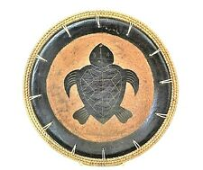 Turtle Pottery Decorative Plate Handcrafted Basket Weave Edge