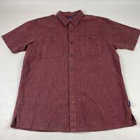 Patagonia Men's Short Sleeve Button Down Shirt Large Hemp/Organic Cotton Red