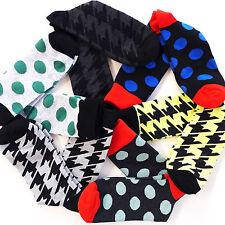 KOREA FINE FIT MEN'S Casual Fancy Colorful Grid Cotton Dress Sock 10-13