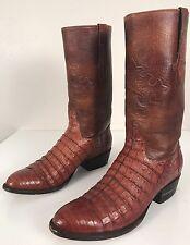 Ammons Brown Caiman Crocodile Alligator Exotic Handmade Cowboy Boots Mens Sz 9 D