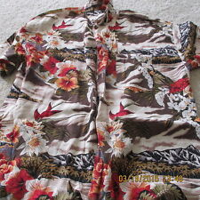 Monzini Collection, Italy, Hawaiian Style Shirt, S/S, Large, Island & Floral
