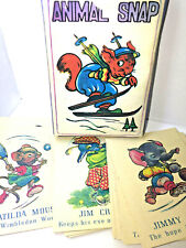 Vintage ANIMAL SNAP PLAYING CARDS Miniature Deck CHILDREN'S GAME Kid COLLECTIBLE