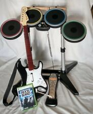 Xbox 360 Harmonix Rockband Wireless Drum Set Bundle W/Pedal, Guitar & RB Game