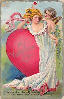 C78/ Valentine's Day Love Holiday Postcard 1911 Girl Cupid Heart Dress 22
