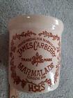 vtg James Carberry Stoneware Marmalade Crock Pottery art london corona ? 1886 uk