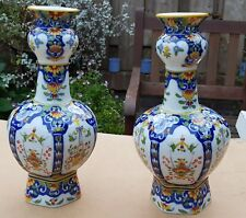 PAIR OF VINTAGE  DUTCH PORCELAIN DELFT GARLIC NECK TWIN VASES HAND PAINTED