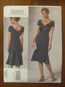 VOGUE PATTERN - 1196 LADIES EVENING DRESS EMPIRE WAIST V-NECK FLOUNCE 6-12 UNCUT