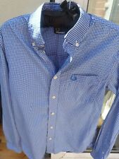 Men's Fred Perry Blue White Check Shirt Mod Skin Scooter Ska Soul Small XS