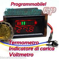 STRUMENTO 3in1 PROGRAMMABILE INDICATORE DI CARICA VOLTMETRO TERMOMETRO NTC 120V