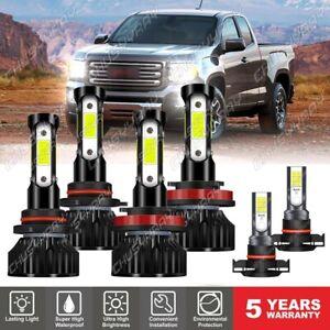 For GMC Canyon 2015-2021 6000K 6X LED Headlights High Low Beam + Fog Light Bulbs