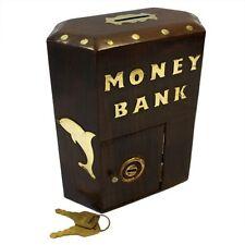 Money Box Jar Wooden Large Hex Box Money Bank Saving - Sheesham Wood and Brass