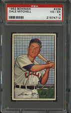 1952 Bowman # 239 Indians Dale Mitchell PSA VG-EX 4 NQ