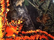 Handmade FLEECE TIE-BLANKET Mossy Oak Camo Hunter Orange 60X72 - 2 layer