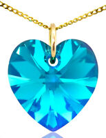 December Birthstone Necklace Turquoise 9ct Gold Heart with Swarovski® Crystal 9k