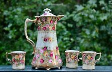 Antique Set Royal Kinran Hot Chocolate Pot Cup Nippon Pink Yellow Roses Beaded
