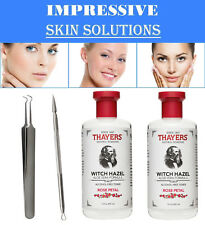 Thayers Rose Petal Witch Hazel 12 Oz. Pk/2 + Blackhead Remover Tool Kit Set 2 Pc