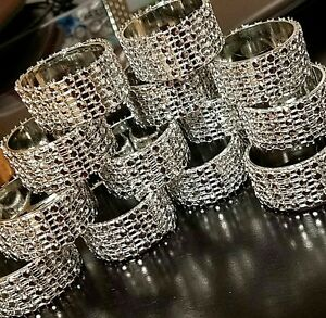 Rhinestone napkin ring 12 pieces, silver, bling.