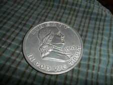 "1963 Franklin Half Dollar NOVELTY 3"" INCH METAL COIN TOKEN PAPERWEIGHT"