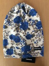 DIESEL Womens Ladies Cream Blue Floral Knit Stretch Fit Beanie Hat One Size BNWT
