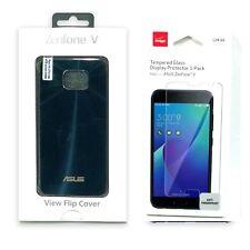 Asus View Flip Hard Shell Folio Case Verizon Tempered Glass Bundle For ZenFone V
