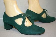 Vtg 1960s Fanfares Shoe Green Suede Mary Jane Cut-Out Tie Chunky Block Heel Sz 7