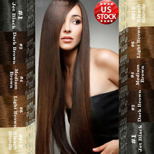 """Black Brown Clip In Remy Human Hair Extensions Full Head 18"""" 20"""" 22"""" Cheap US A7"""
