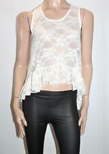 ASOS Designer Cream Lace High Low Tank Top Size 8 NEW [sx88]