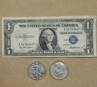 1935 $1.00 Silver Certificate, SILVER Walking Liberty & Kennedy Half OLD COINS!!