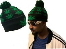Black Rasta Weed Leaf Pom Winter Smoke Marijuana Tam Beanie Beanies Cap Hat Hats