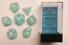 Chessex 7 Dice Set Frosted Teal w/ White CHX 27405 for D&D & D20