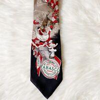 "TABASCO Men's 100% Silk Neck Tie Necktie Christmas Santa Claus Reindeer 59"""