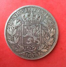 Belgique - Léopold Ier - Très Jolie  5 Francs 1849 Tête nue - Variété  grand 9