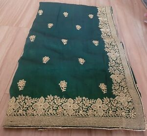 green embordered border saree with blouse fabric 1a