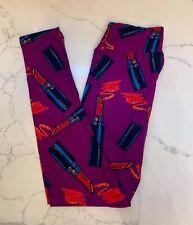 NEW LuLaRoe OS Leggings PURPLE Makeup Lipstick MAGENTA Red Lips Love Sexy Pink