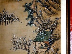 Mountain Boat Temples Man Woman ANTIQUE Large Chinese Landscape Silk Painting