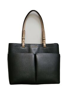 Michael kors bedford Tote handbag satchel black tan adjustable straps perfect