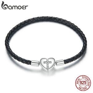BAMOER S925 Silver Pave CZ Clasp Modern cross Leather Bracelet For Women Jewelry