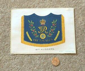 Antique Silk BDV Cigarette Card Military 18th Hussars Flag