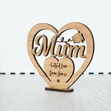 Personalised Mothers Day Gift for Mum Granny Nan Free Standing Wood Heart Plaque