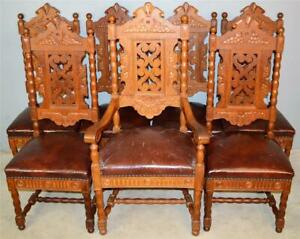 21014 Set of 7 Fancy Oak Carved Dining Chairs